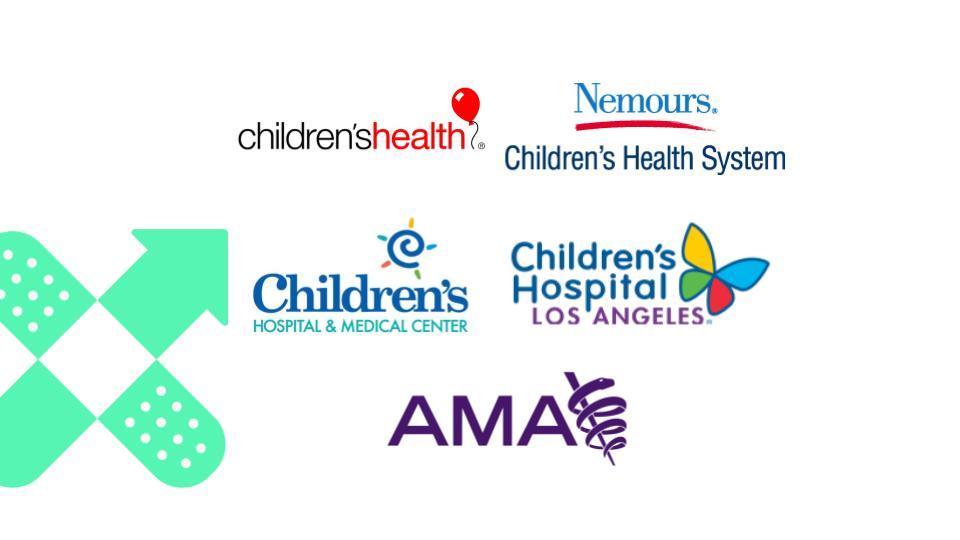 Children's Health, Nemours - Children's Health System, Children's Hospital and Medical Center, Children's Hospital Los Angeles, AMA - composite logo